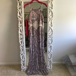 Xhilaration Pink Maxi Dress with Waist Cut Outs